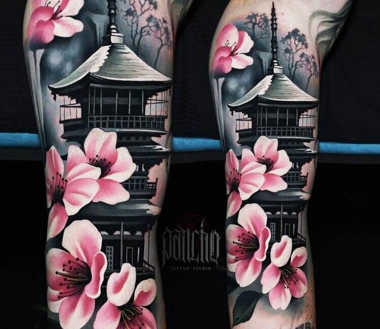 Pagoda tattoo by A.d. Pancho