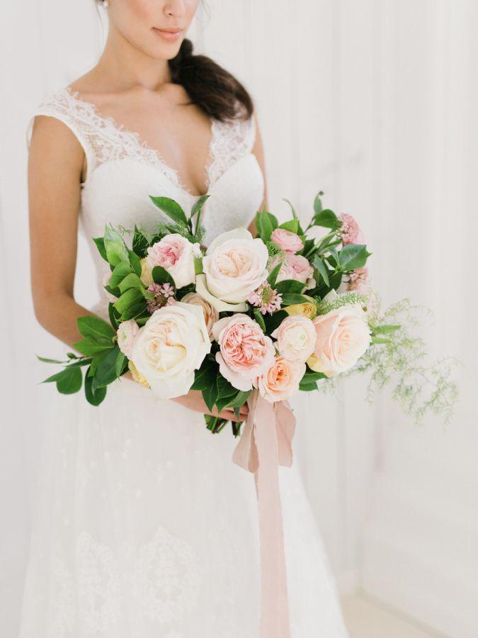 Classic mixed garden rose bouquet: http://www.stylemepretty.com/2016/01/01/pantone-rose-quartz-bridal-inspiration-shoot/ | Photography: Tenth & Grace - http://www.tenthandgrace.com/