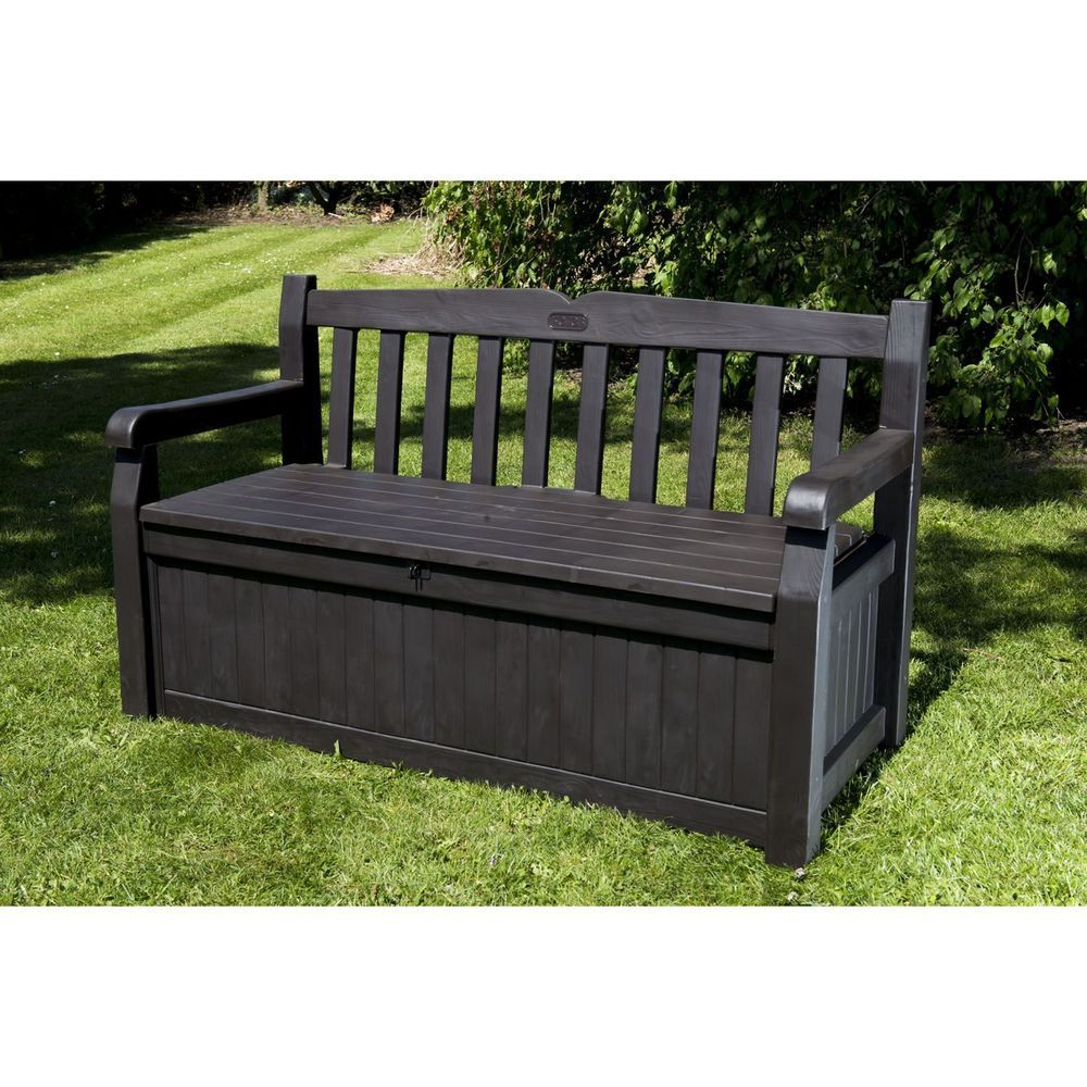 Brown Garden Bench Storage Plastic Resin Outdoor Patio Balcony
