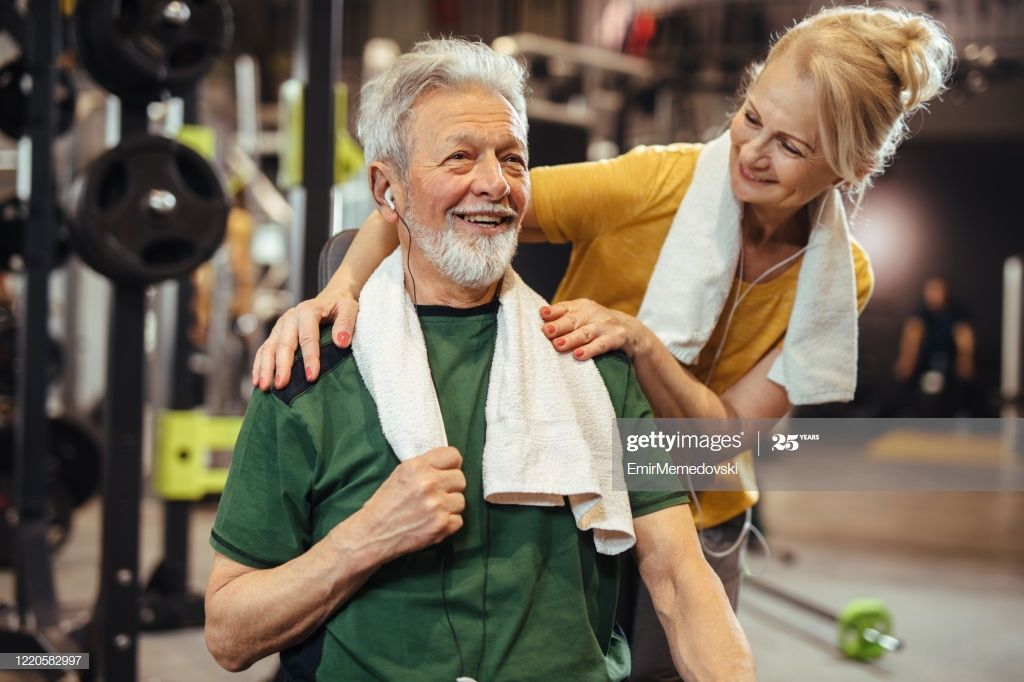 Senior Couple Doing Fitness Exercises At Gym Photography #Ad, , #AFF, #Fitness, #Couple, #Senior, #P...