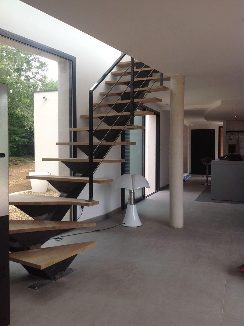 Escalier m tallique quart tournant verg ze escaliers pinterest escali - Escalier bois metal quart tournant ...