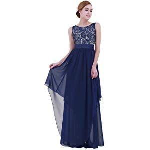 2e0008396 IEFIEL Vestido Largo Mujer para Dama de Honor Vestido Encaje Floreado de  Noche Vintage Vestido de