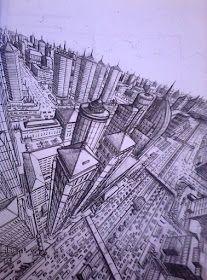 Aplikasi Perspektif Tiga Titik Hilang Dengan Sudut Pandang Dari Udara Gambar Perspektif Sketsa Arsitektur Perspektif