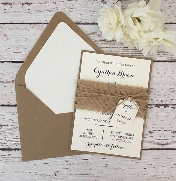 Rustic Wedding Invitation Burlap Wedding Invitation Kraft