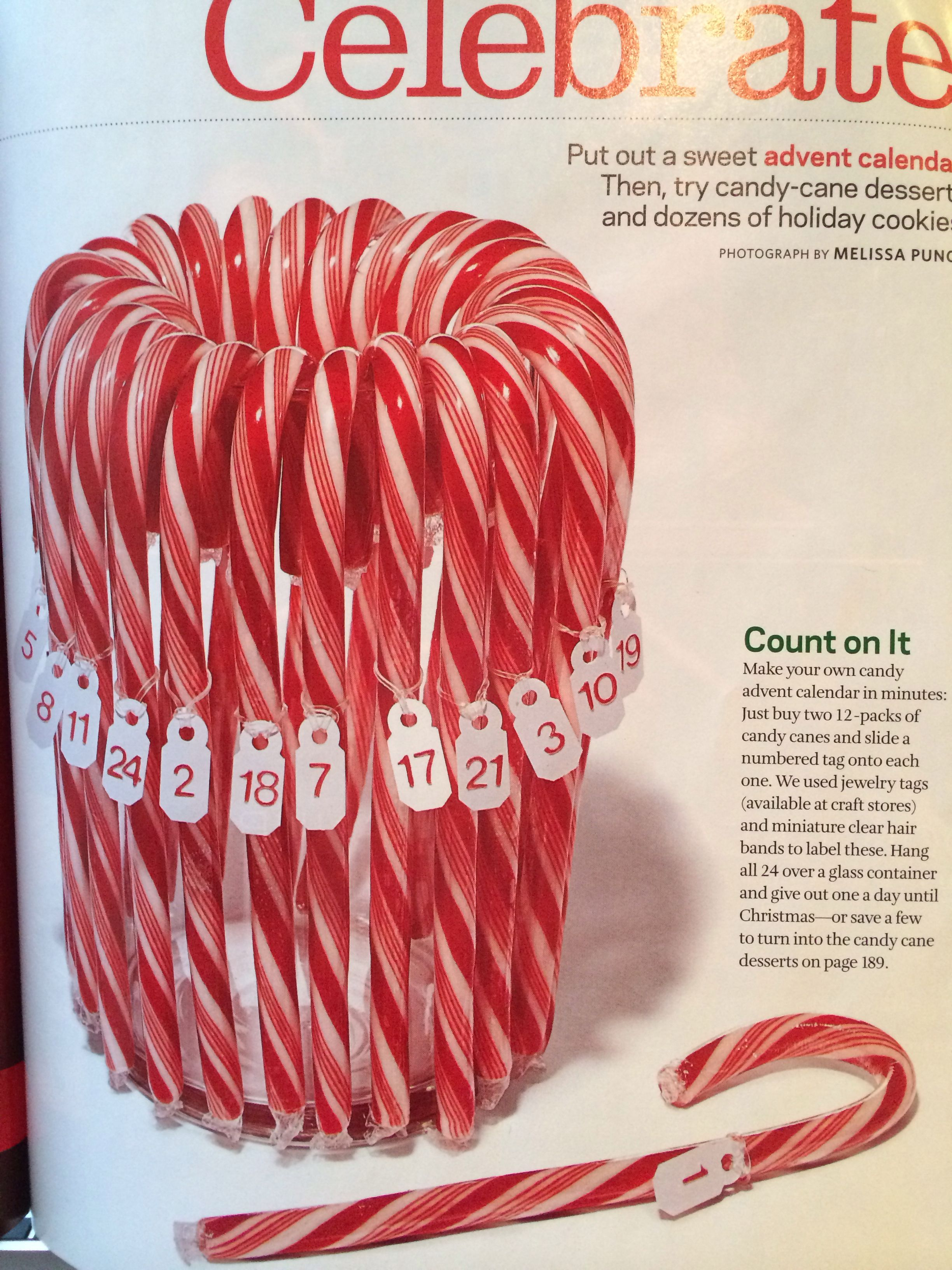 Candy Cane Advent Calendar From The December Edition Of The