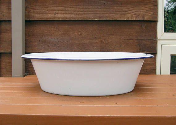 Large White Enamel Baby Bath Tub, Vintage Wash Basin, White Enamel ...
