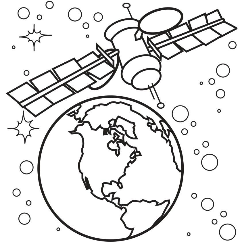 Satellite Space Coloring Pages Earth Coloring Pages Planet