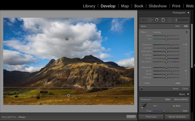How to use graduated filter in lightroom