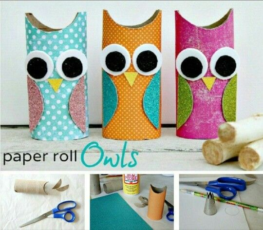 Totally awesome and cool paper rool owls