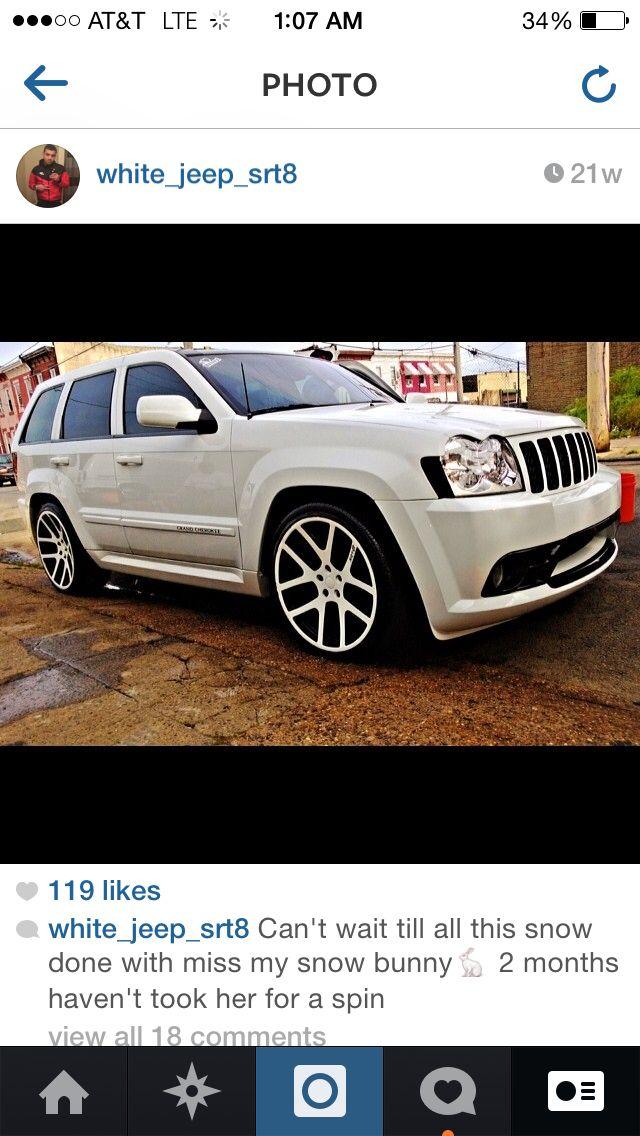 White Jeep Srt8 Custom Beast Viper Wheels 22 Jeep Srt8 Srt Jeep Jeep Wk