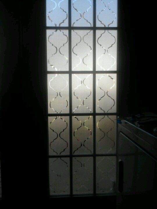 Diy Frosted French Doors I Used Contact Paper And Home Made Patterns For Stencils Think They Came Out Great