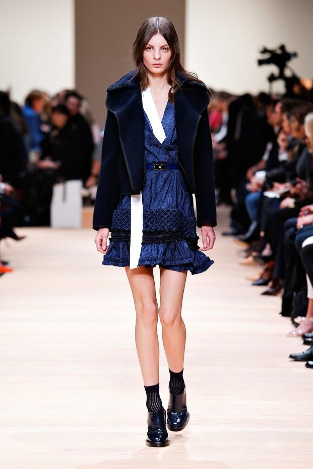 Blue textured wrap dress and cropped jacket on the runway at Carven F/W 2015