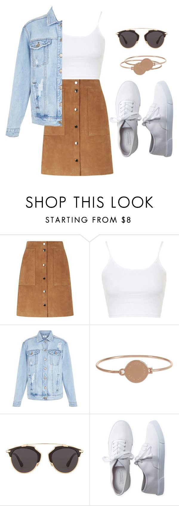 """suede skirt"" by izzymynizzle ❤ liked on Polyvore featuring Vanessa Bruno Athé, Topshop, Marc Jacobs, Christian Dior, Aéropostale, white, skirt and croptop"