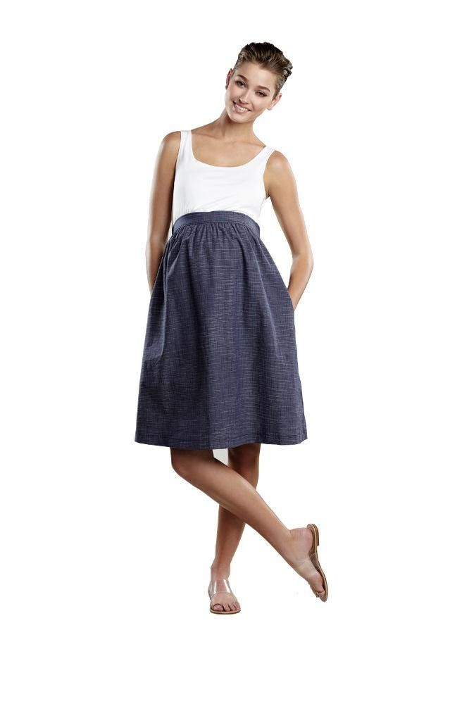Maternal America Empire Seersucker Maternity Dress in White with Indigo & White by Maternal America with free shipping