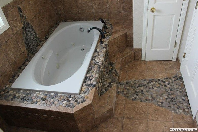small bathroom ideas travatine tile river rock design