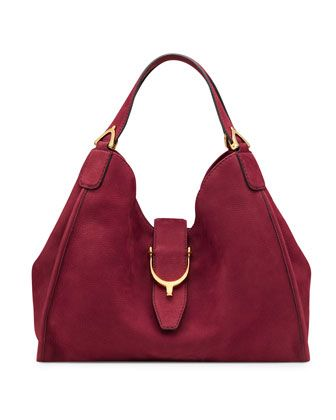 8ace8b170462 Soft Stirrup Suede Medium Shoulder Bag