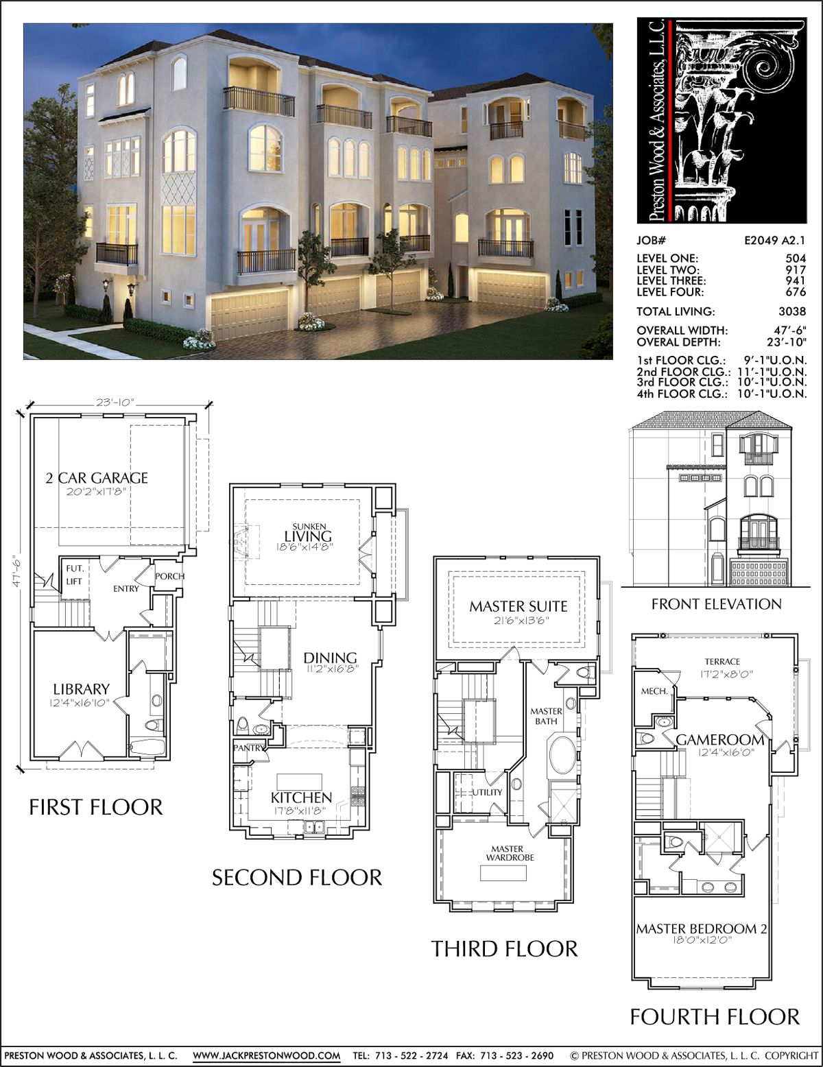 Townhouse plan e2049 a2 1 r c h pinterest for Townhouse floor plans