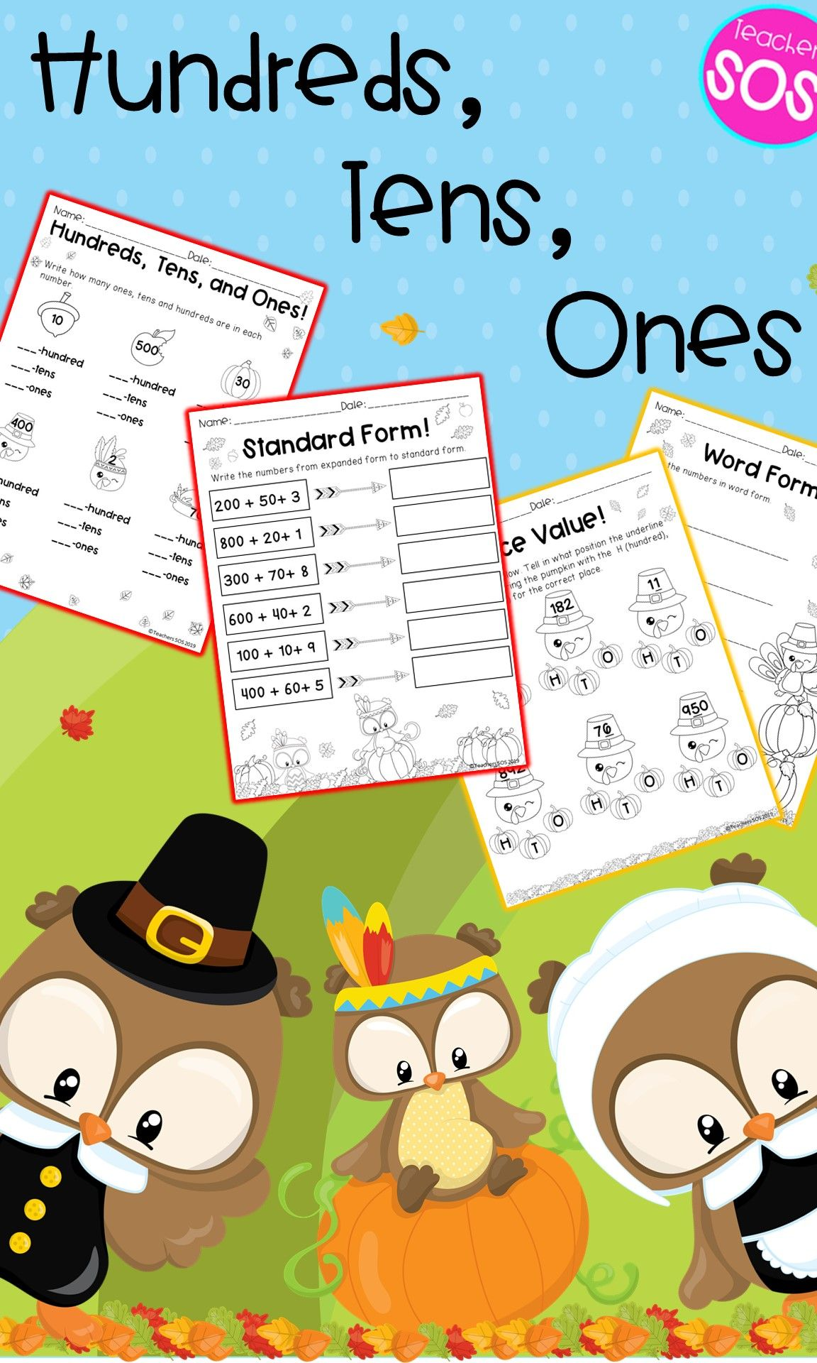 Thanksgiving Place Value Math Worksheets 3digit Numbers