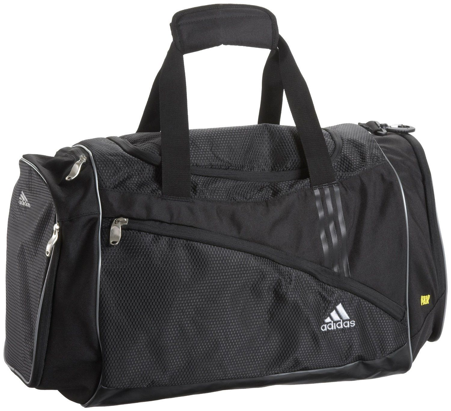 This adidas Scorch Team Duffel Bag is made to carry everything you need for those big tournaments and games. It has a large main compartment with a sturdy zip, a separate FreshPAK wet/dry compartment