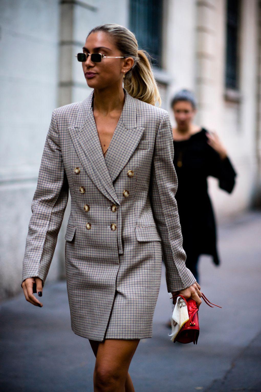 a4fd8217ed milan fashion week + check blazer dress + tiny sunglasses + 90 throwback