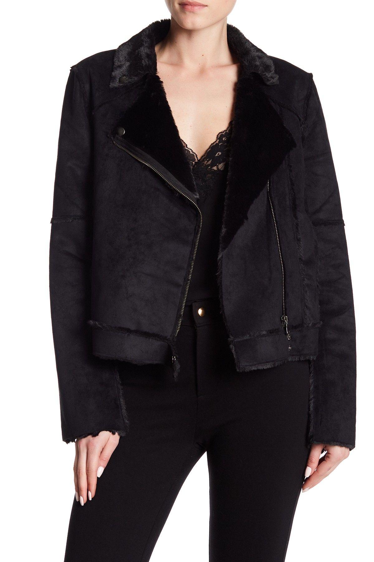Parker Faux Fur Lined Biker Jacket Jackets, Faux fur