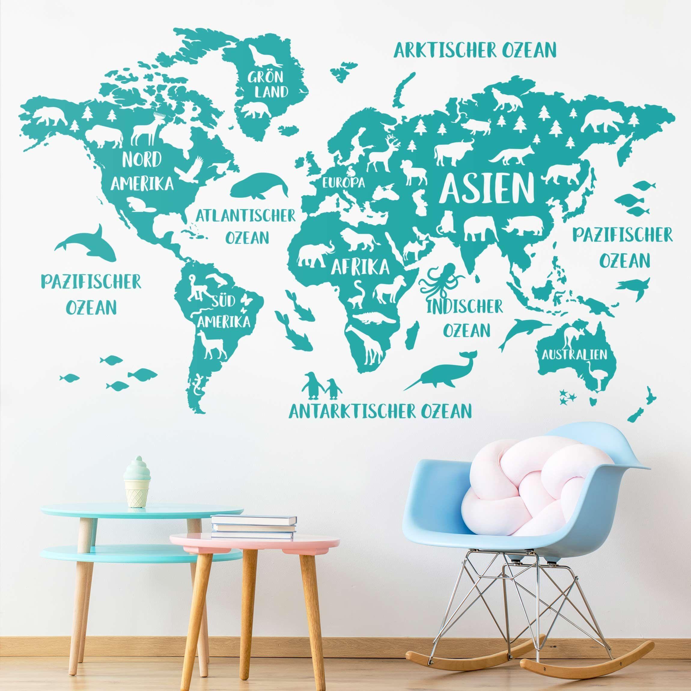 Wandtattoo Xxl Weltkarte Mit Tieren Wandtattoo Weltkarte Weltkarte Tapete Weltkarte