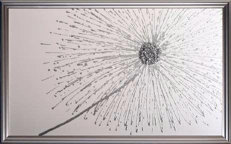 Framed Glitter Silver Dandelion White Background Silver Frame ...
