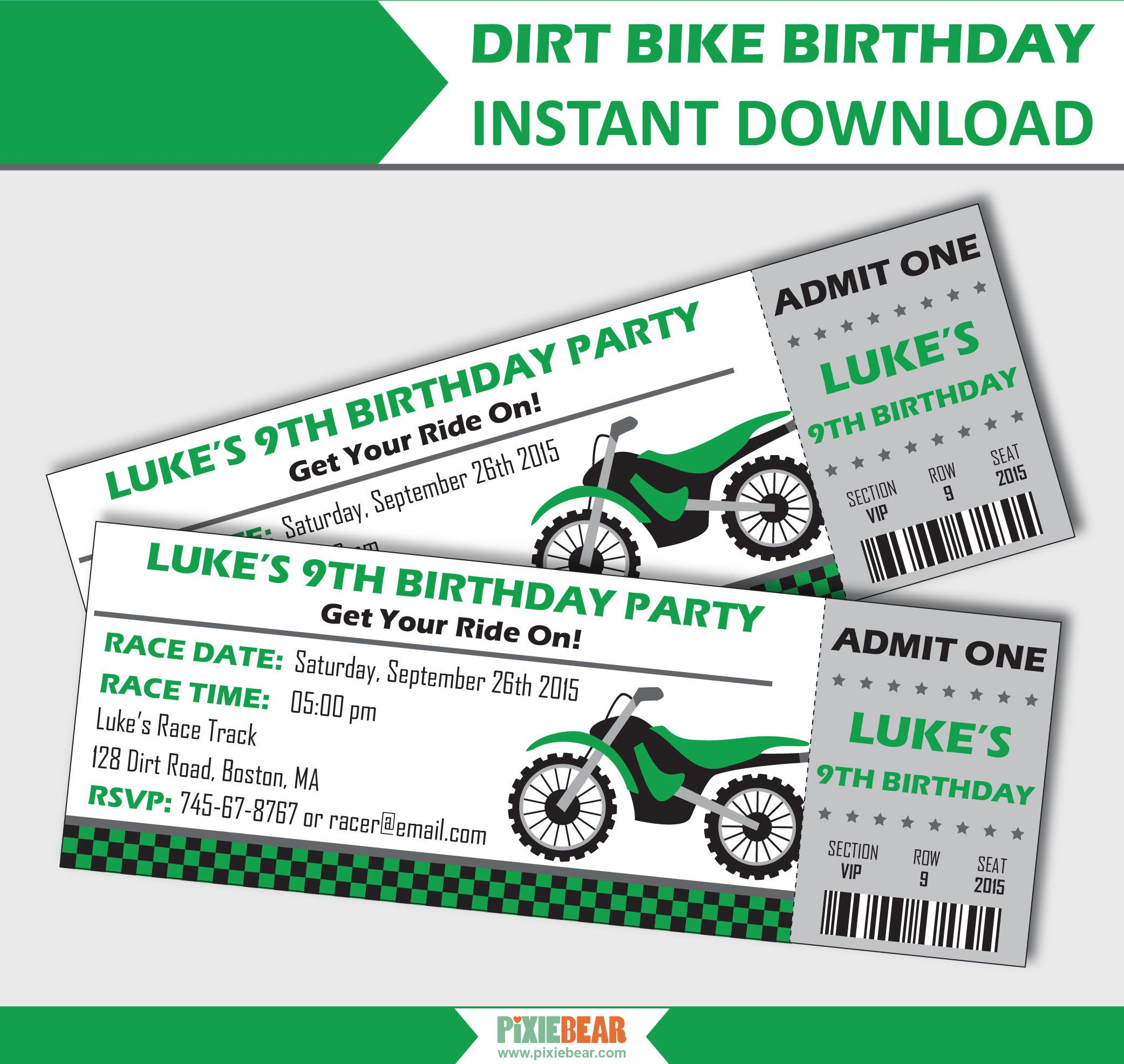 Dirt Bike Party Invitation - Motorcycle Invitation - Motocross ...