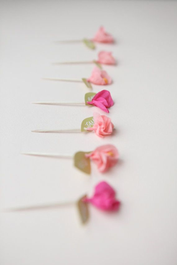 mini crepe paper flower cupcake toppers by chiarabelle on Etsy, $12.00