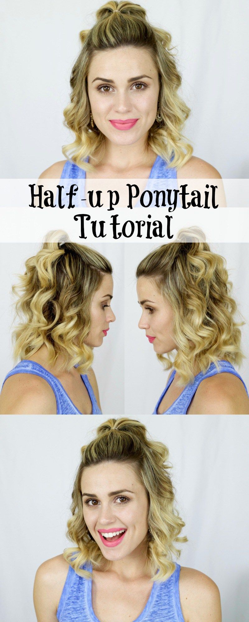 How To Half Up Ponytail With Images Short Hair Tutorial Medium Hair Styles Half Up Hair