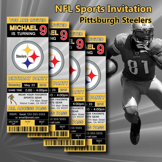 Pittsburgh steelers footbal birthday invitation for birthday party pittsburgh steelers footbal birthday invitation for birthday party ticket invitation the invitation will be sent as a digital files no physical filmwisefo