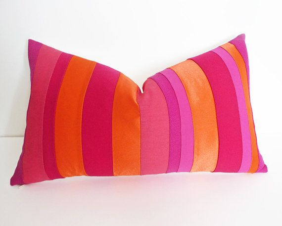 Vibrant Neon Color Band Pillow Eclectic Dorm Decor In Red Pink