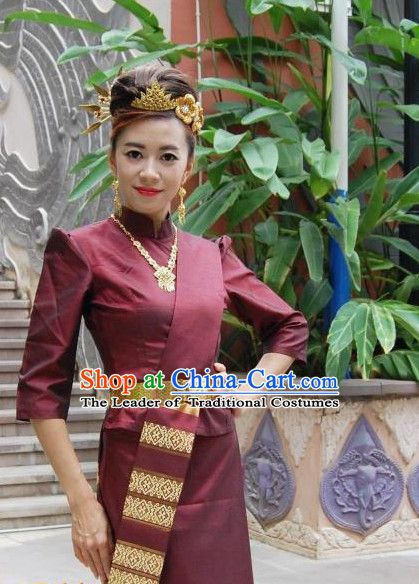 5c915f526dcb Traditional National Thai Dress Thai Traditional Dress Dresses Wedding  Dress online for Sale Thai Clothing Thailand Clothes Complete Set for Women  Girls ...