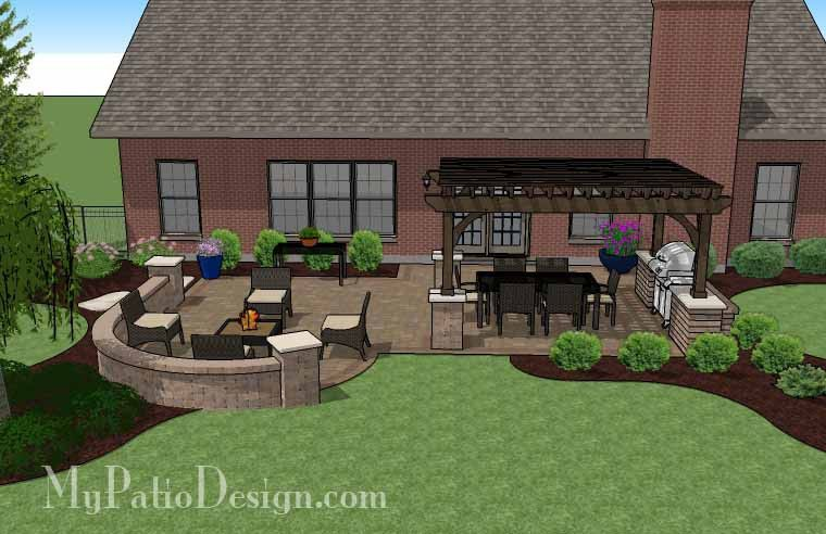 traditional patio design with seating wall and pergola ... - My Patio Design
