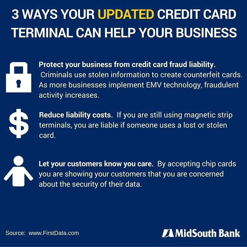 3 ways your updated credit card terminal can help your business businesses that accept emv cards for purchases can eliminate exposure or losses to credit card fraud because of counterfeit cards colourmoves