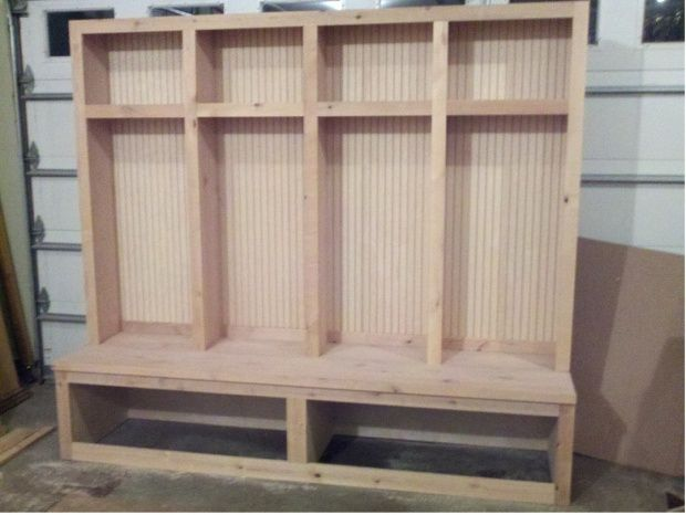 Marvelous Mudroom Lockers With Bench Plans Photo Courtesy Of Ballard Designs See More  About Garage Storage Cabinets Build Mudroom Locker And Bench Unit We Drew  Up ...
