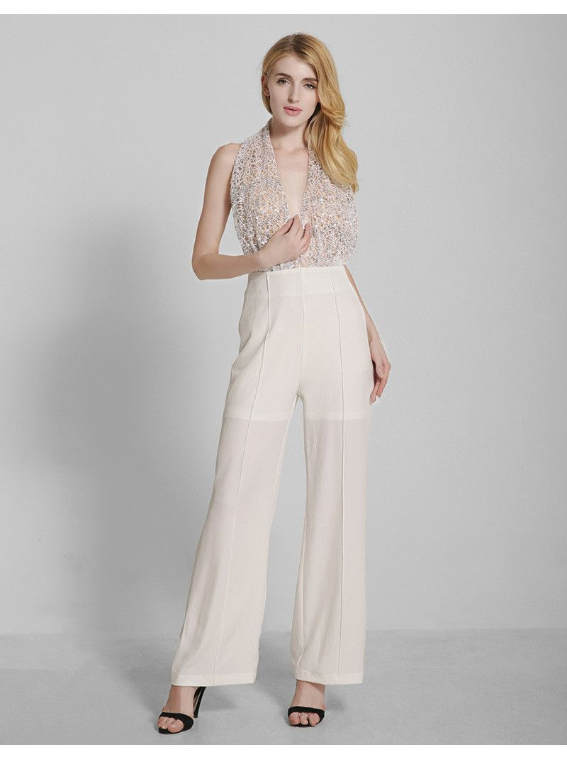 Great Alternative To Stark White Wedding Attire The Creme Color Adds A Softness Look Halter Provides Just Right Amount Of Detail