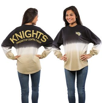 UCF Knights Women's Black Ombre Long Sleeve Dip-Dyed Spirit Jersey ...