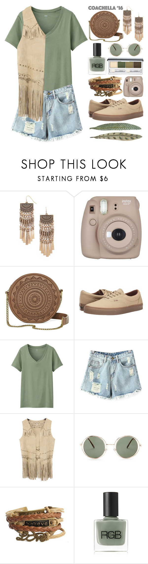 """""""Untitled 151"""" by meaganmuffins on Polyvore featuring Forever 21, T-shirt & Jeans, Vans, Uniqlo, Chicnova Fashion, RGB, Clinique, fringe, coachella and festivalstyle"""