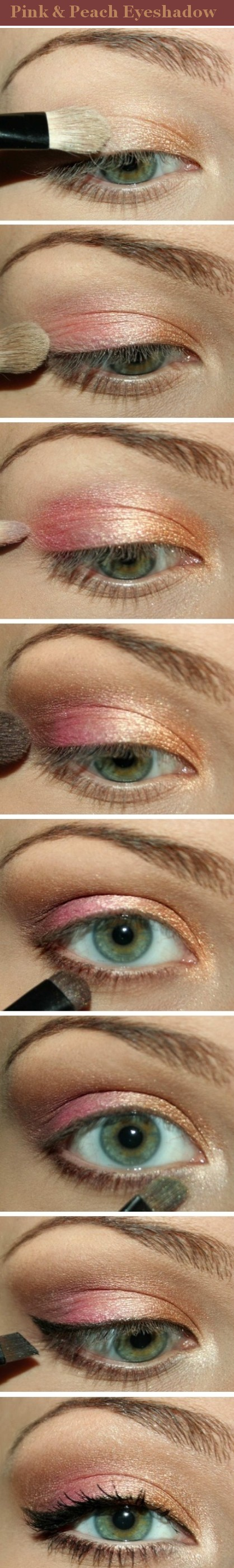 Pink and peach eyeshadow.