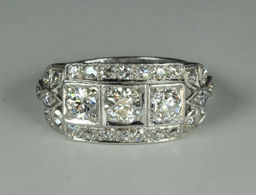 Fabulous 3 Stone Art Deco Ring