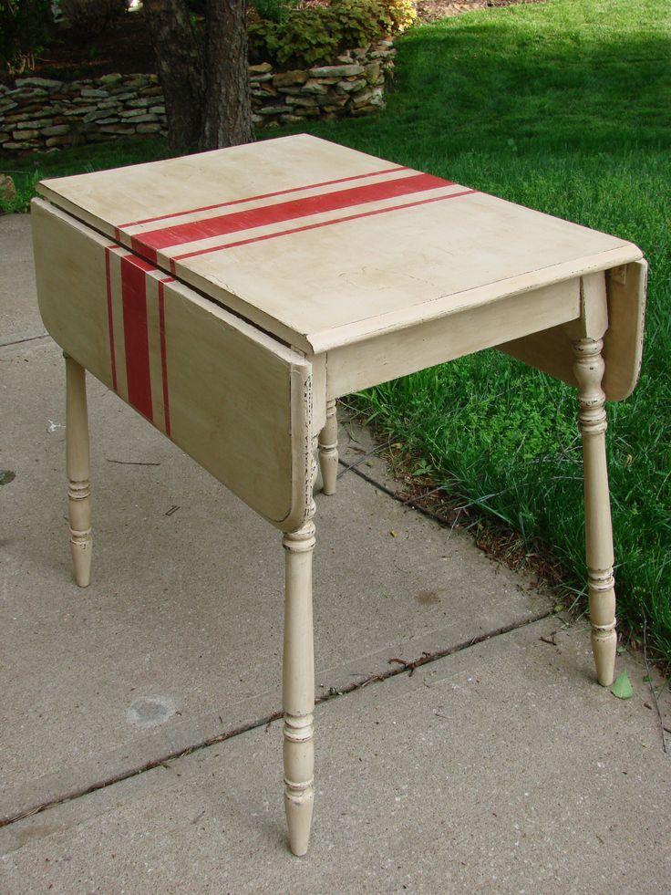 Red Feedsack Drop Leaf Table Painted Furniture Vintage Drop Leaf Table Furniture