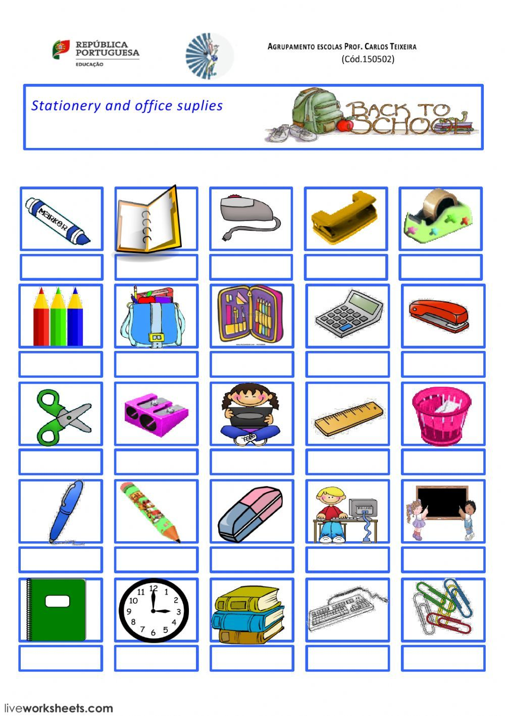School Objects Interactive And Downloadable Worksheet You Can Do