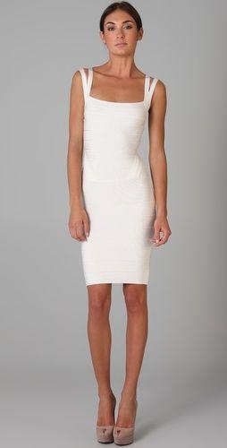 Herve Leger Knee Length Square Neck Dress **leaving for honeymoon dress**
