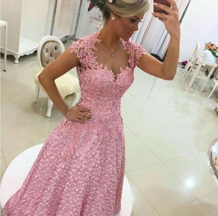 Vestido de encaje rosa para fiesta. | VESTIDOS! | Pinterest
