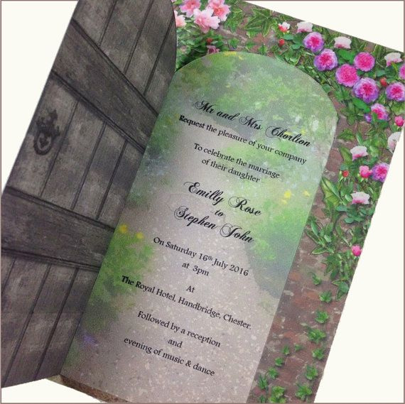 Secret Garden Wedding Invitation, Romantic Wedding Invitation, Rose Wedding invitation, Garden Gate Wedding Invitation SAMPLE is part of Secret garden Invitations - numbers, seating plans, table & individual menu's, thank you cards  For more information please contact us via the ETSY message