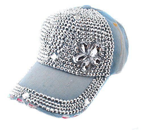 de0fbf3355e Elonmo Crystal Flowers Baseball Cap Jewel Rhinestone Bling Hats Elonmo  http   www.