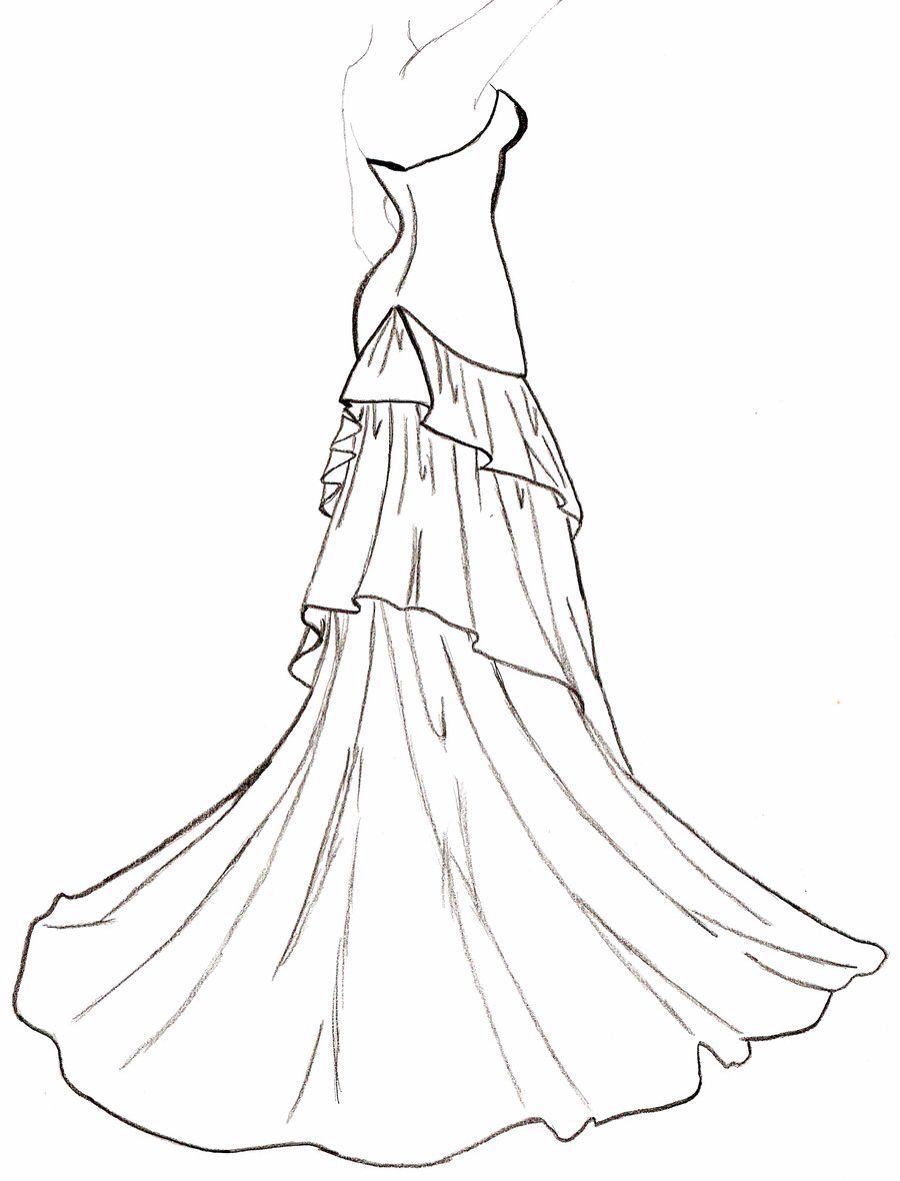 Flowing Dress Wedding Dress Drawings Dress Design Drawing