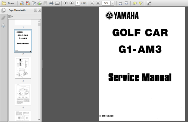 Yamaha G1 G1a Golf Car Shop Manual Pdf Download Golf Car Car Shop Manual