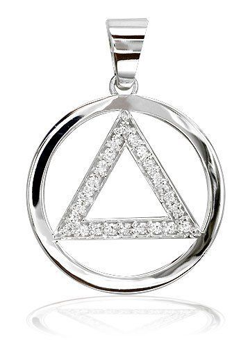 NO BOX INCLUDED Alcoholics Anonymous AA jewelry charm silver pendant new